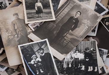 Black and white photos laid out, looks like they were taken a long time ago